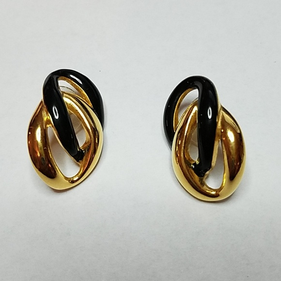 Goldtone Square Black Enamel Flat Stud Earrings